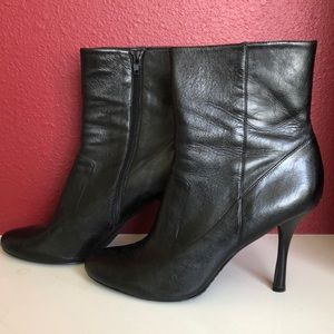 Calvin Klein Size 11 Black Heel Boots With Box